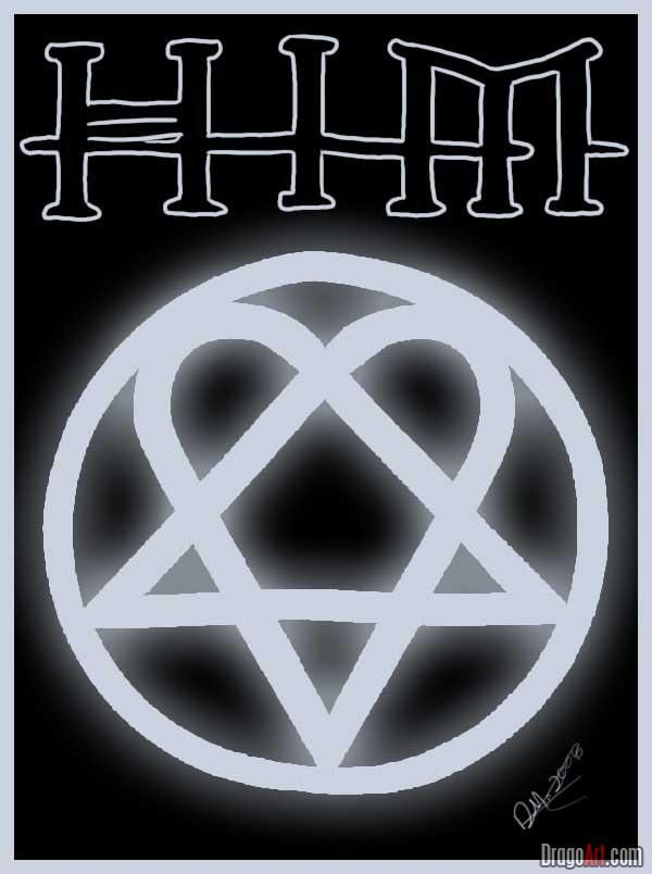 how to draw him letters and heartagram.