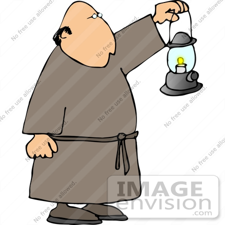 Monk Carrying a Lantern in Front of Him Clipart.