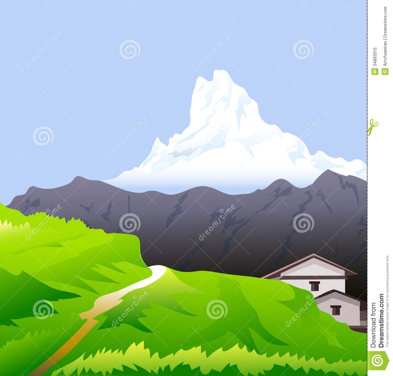 Himalayas & Snow Peaks Vector Royalty Free Stock Photo.