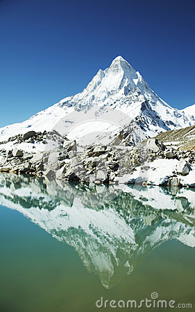 Shivling Peak In Himalayan Stock Images.