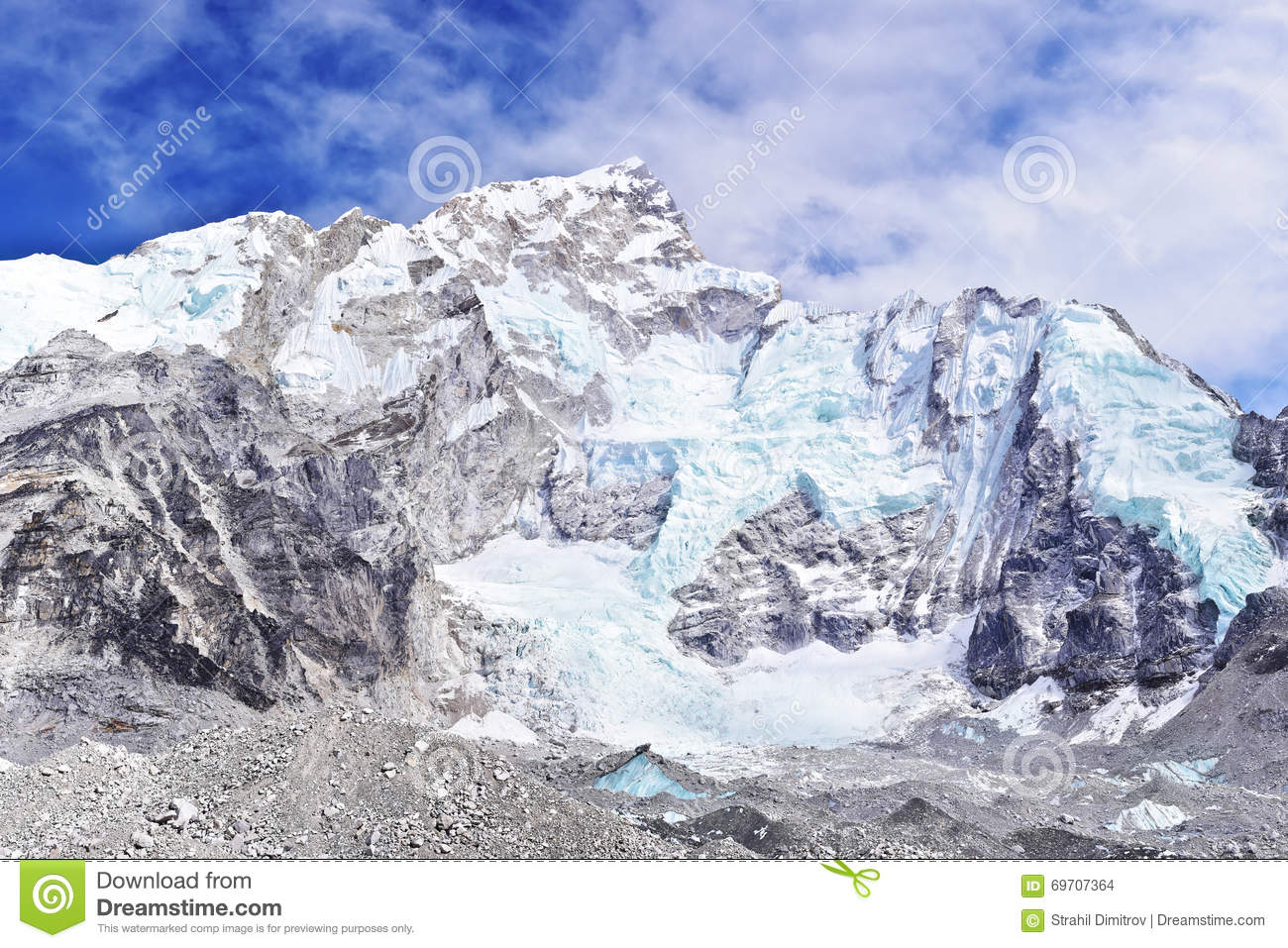 Nuptse Mount In Sagarmatha National Park In The Nepal Himalaya. Hi.