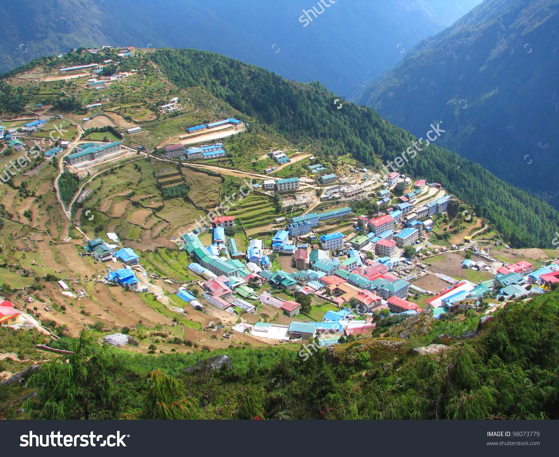 Small Village Sagarmatha National Park Himalayas Stock Photo.