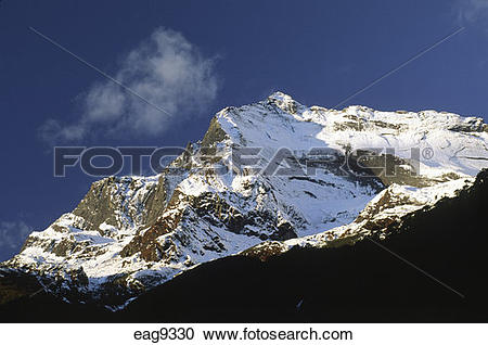 Stock Photography of HIMALAYAN PEAKS rise above the BARUN RIVER.