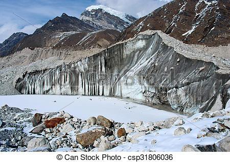 Stock Photos of Ngozumba Glacier, Sagarmatha National Park, Nepal.