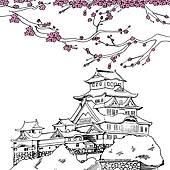 Clip Art of Japanese Himeji Castle k19527236.