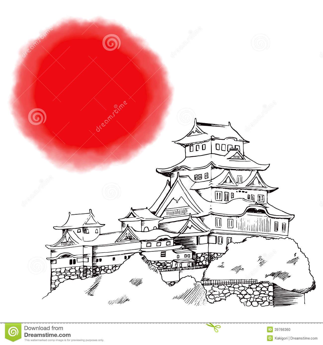 Japanese Himeji Castle Stock Vector.