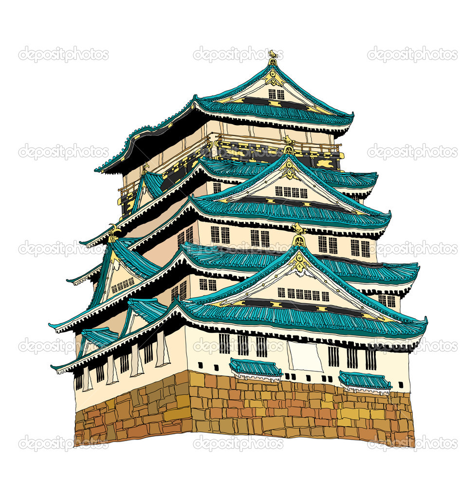 Himeji Castle Vector Illustration — Stock Vector © zzve #13463388.