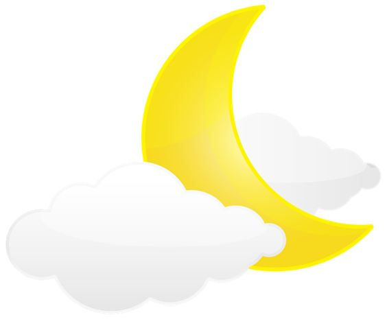Moon with Clouds PNG Transparent Clip Art Image.