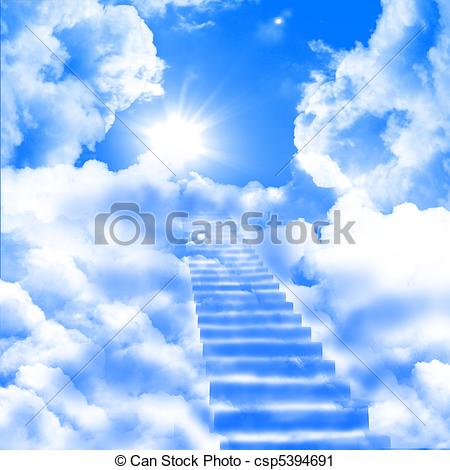 Sky cloud stairway fantasy high blue abstract Illustrations and.