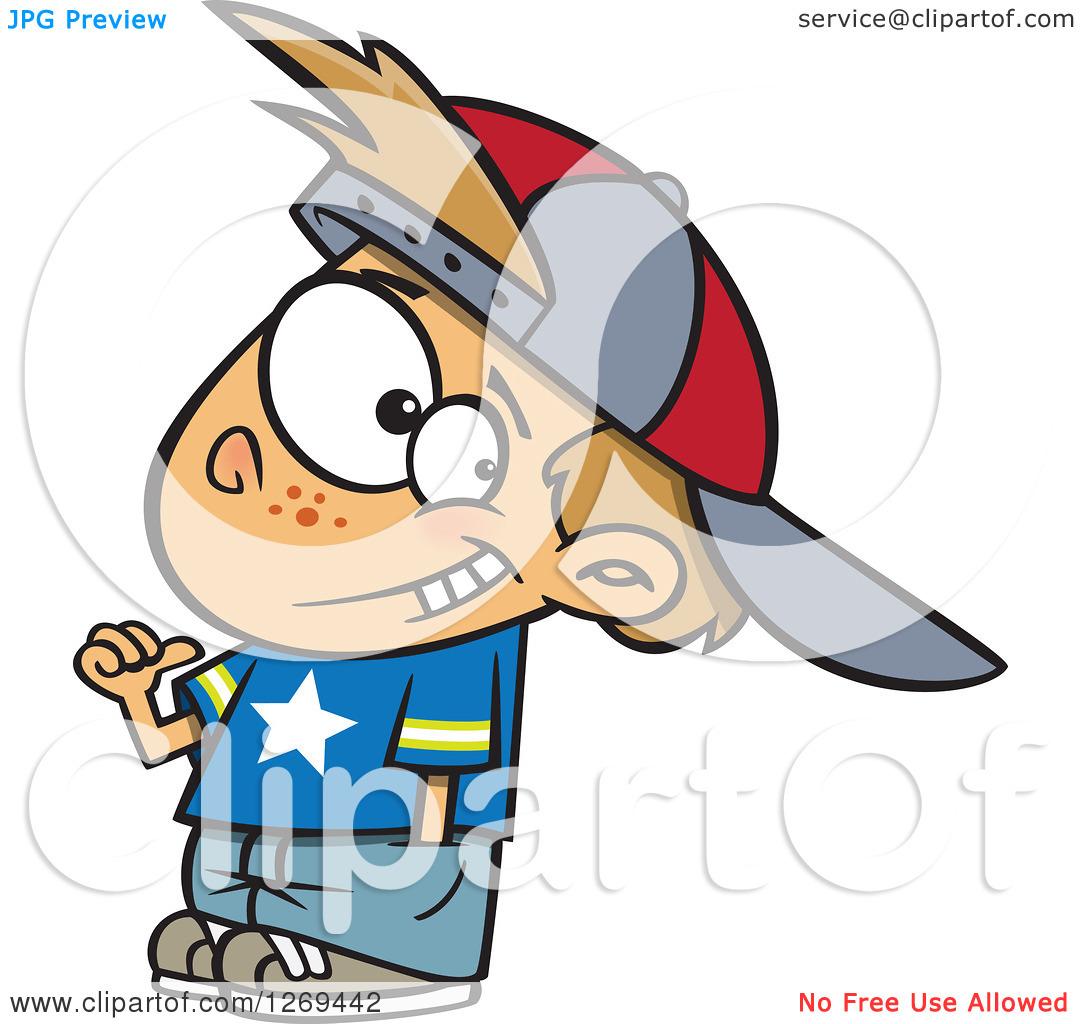 Clipart of a Cartoon Caucasian Boy Wearing an All Star Shirt and.