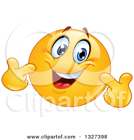 Clipart of a Cartoon Yellow Smiley Emoticon Pointing at Himself.