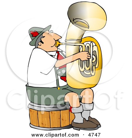 German Tuba Player Practicing By Himself Clipart by Dennis Cox #4747.