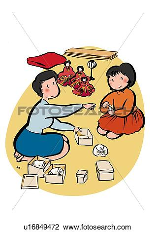 Clip Art of Mother and Child Packing Hina Dolls, Illustrative.