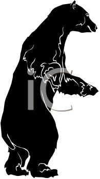 Picture of a Bear On His Hind Legs In a Vector Clip Art.