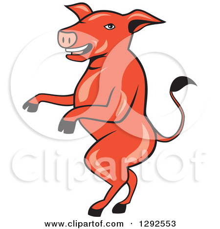 Clipart of a Cartoon Pig Walking on His Hind Legs.