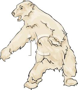 Polar Bear Standing on Its Hind Legs Clipart Image.