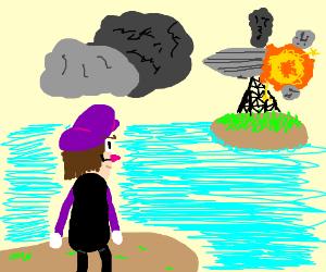 watches the Hindenburg crash.