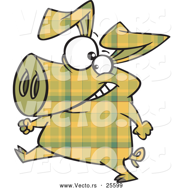 Vector of a Cartoon Yellow Plaid Pig Walking on Hinds Feet by Ron.