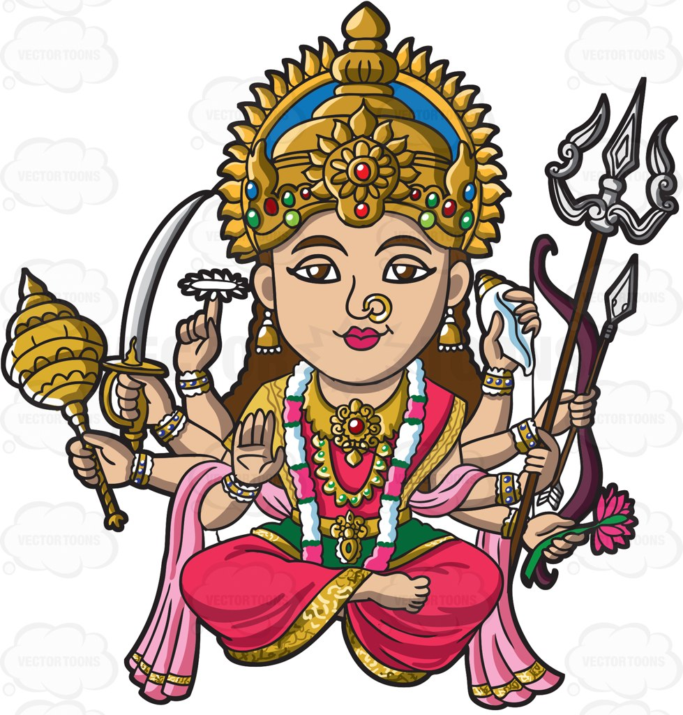 The Hindu Goddess Durga Cartoon Clipart.
