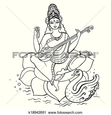 Clipart of Hindu Goddess Saraswati. k18942691.