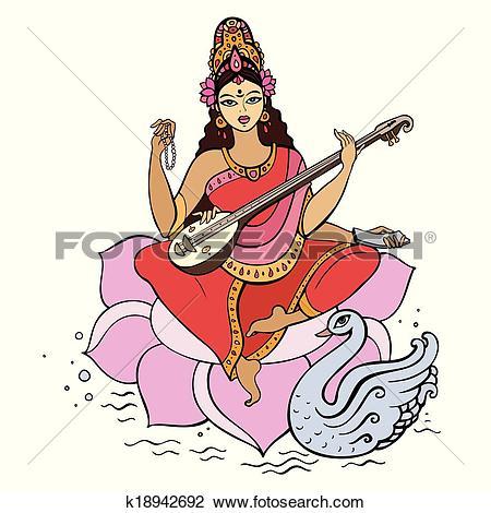 Clipart of Hindu Goddess Saraswati. k18942692.