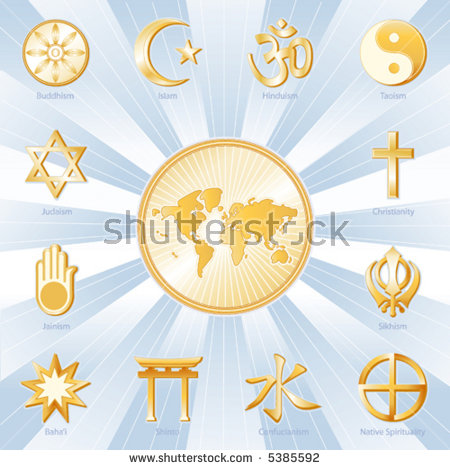 World Religions Stock Images, Royalty.
