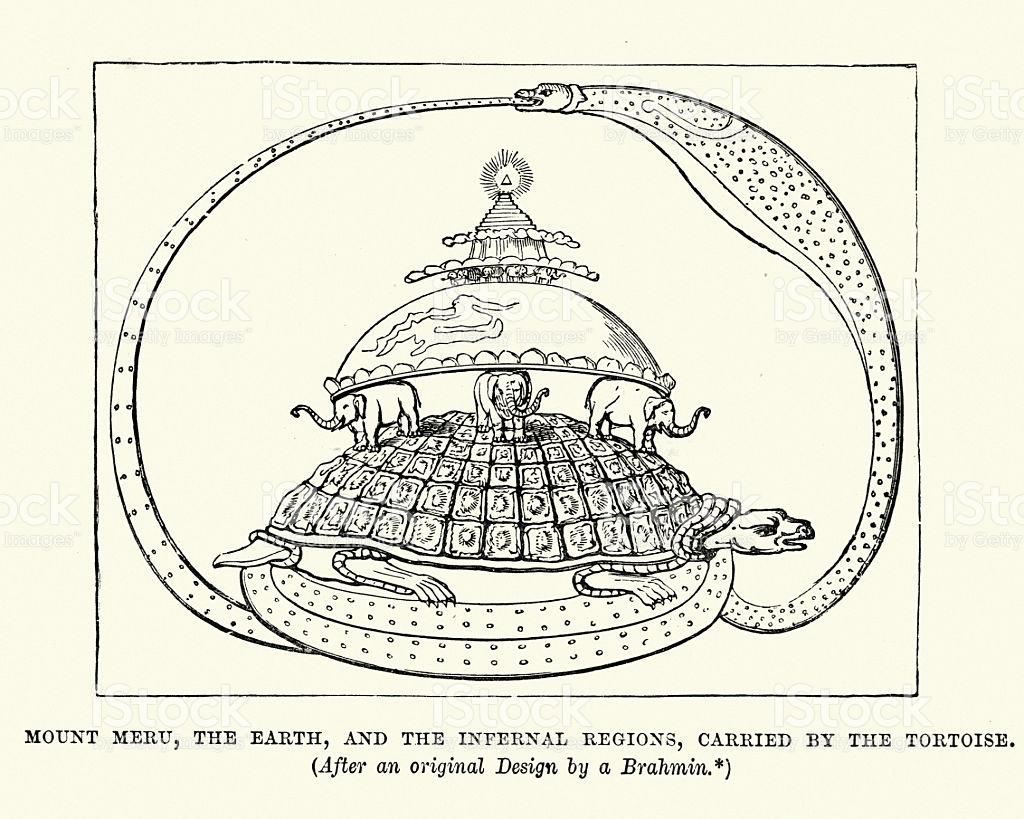 World Turtle In Hindu Mythology stock vector art 512552602.