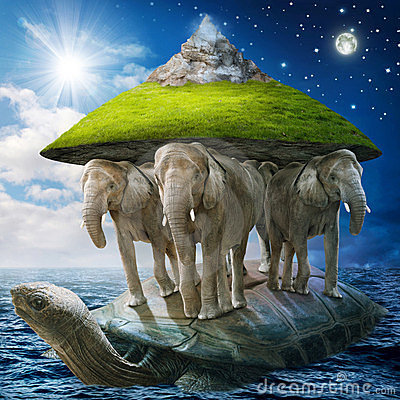 World turtle carrying the elephants that carries the earth upon.