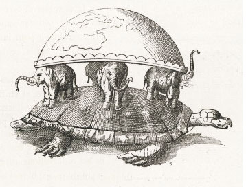 According to Hindu creation myth, a tortoise supports elephants.