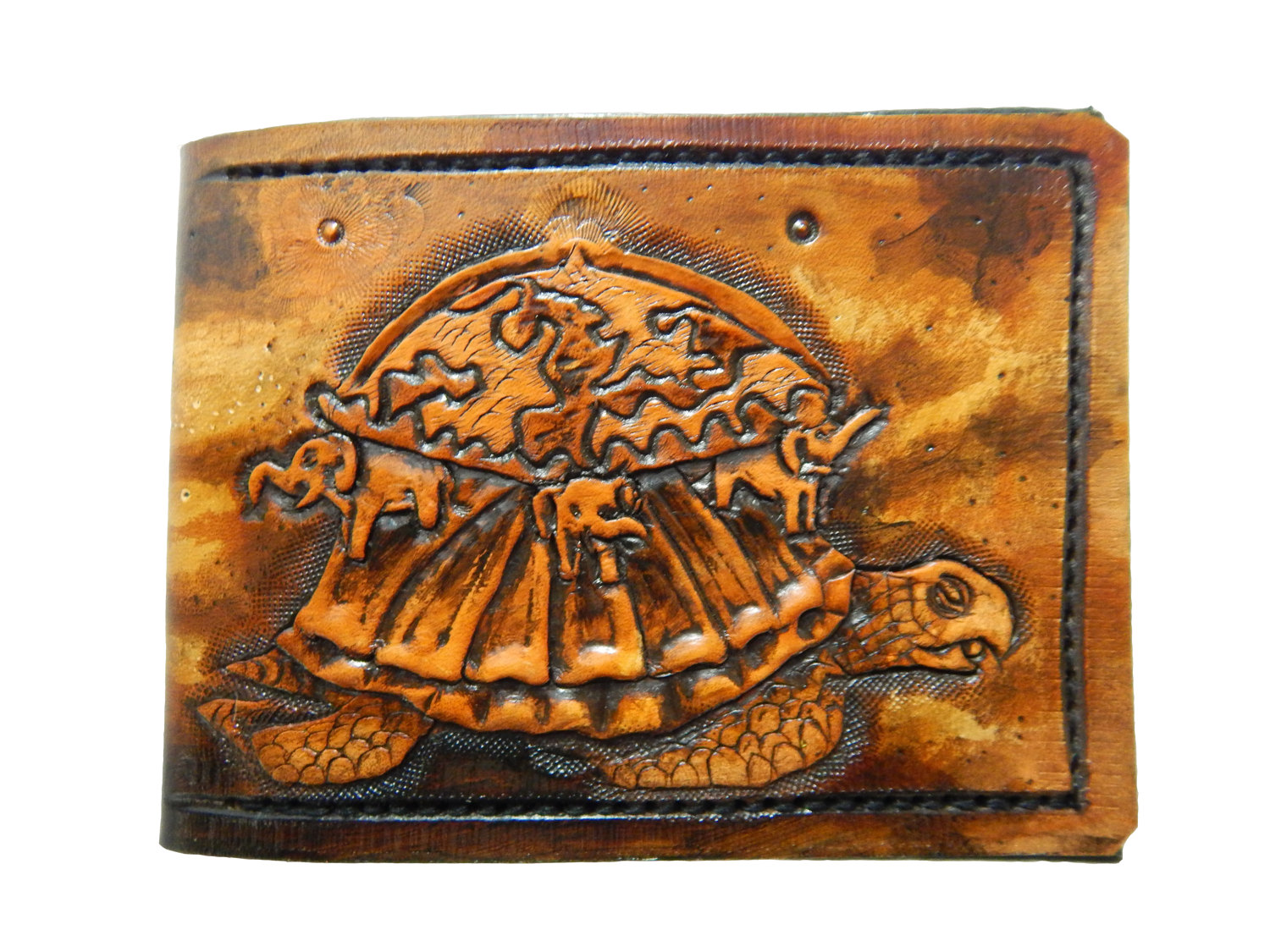 Hindu mythical Cosmic turtle Akupāra Leather Bifold Wallet.