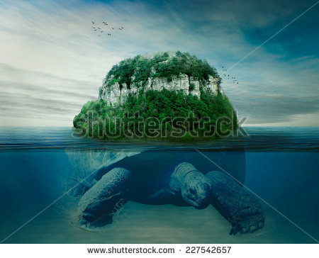 Collage Giant World Turtle Carrying Island Stock Photo 227542657.