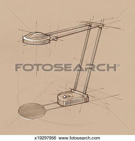 Stock Illustration of Hinged desk lamp x19297956.