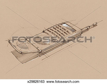Drawing of Cellular telephone with hinged mouthpiece x29826163.