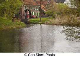 Pictures of Watermill and mountain brook in Hinterbichl village.