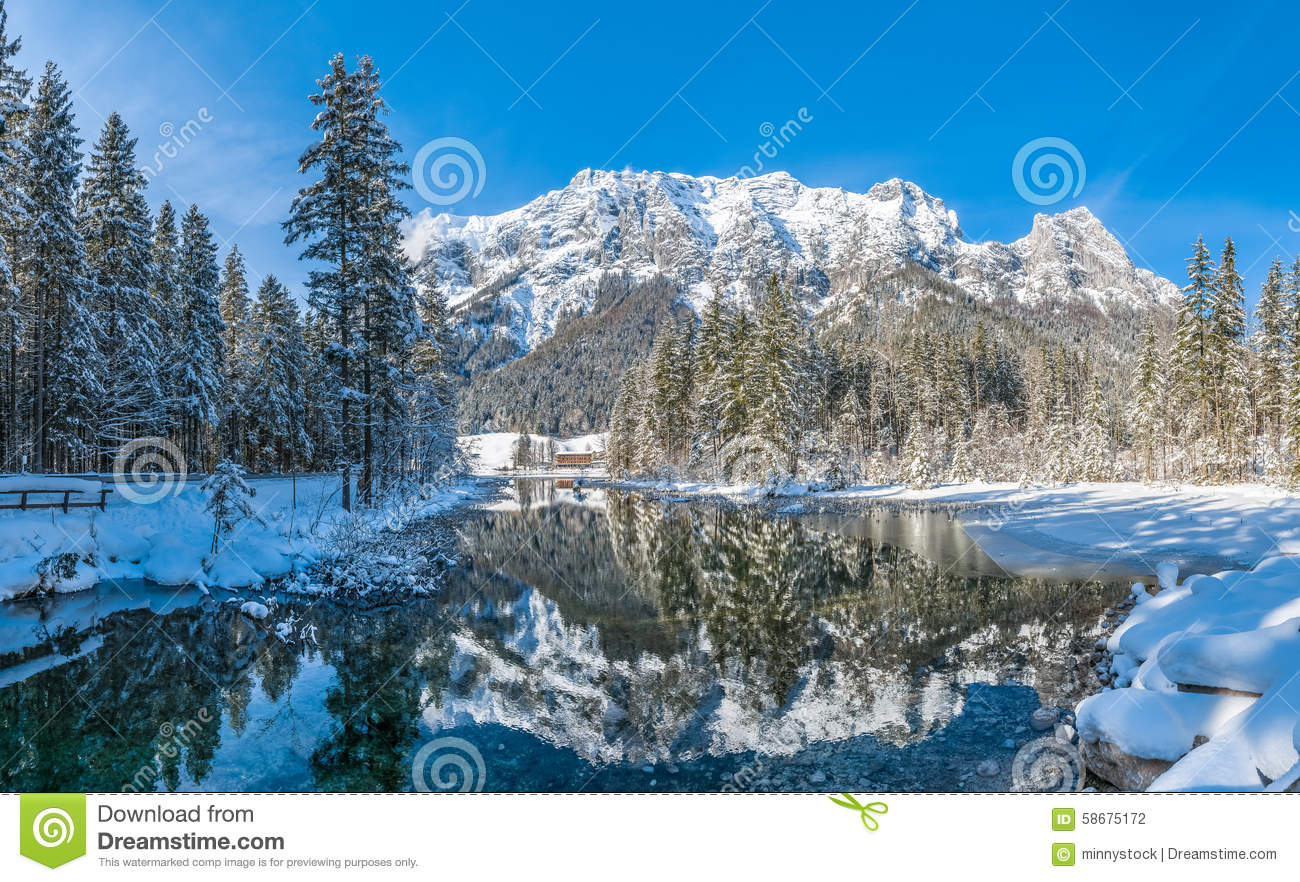Scenic Winter Landscape In Bavarian Alps At Idyllic Lake Hintersee.