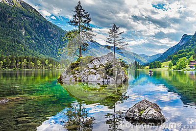 Lake Hintersee,Salzburger Land,Austria Stock Photo.