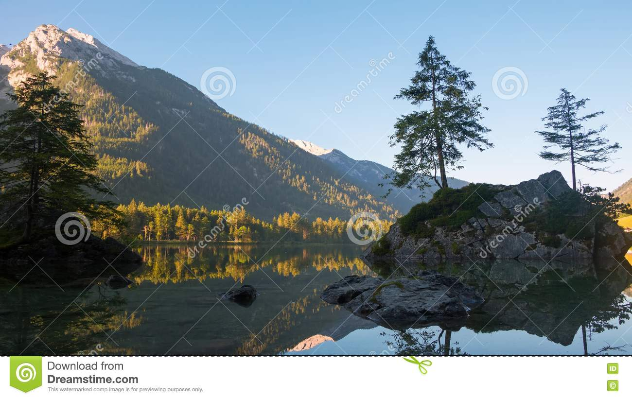 Dawn Of The Mountain Forest Lake Hintersee. Time Lapse 4K Stock.
