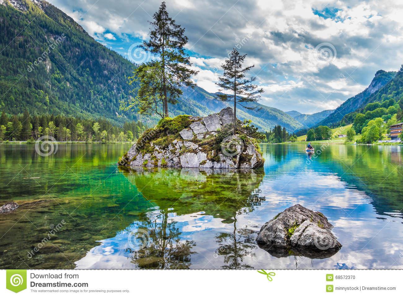 Lake Hintersee, Bavaria, Germany Stock Photo.