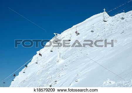 Stock Photograph of Ski lift on hintertux glacier k18579209.