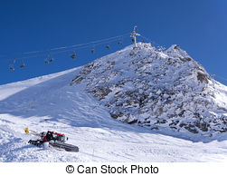 Stock Photos of Skis and Hintertux Glacier.