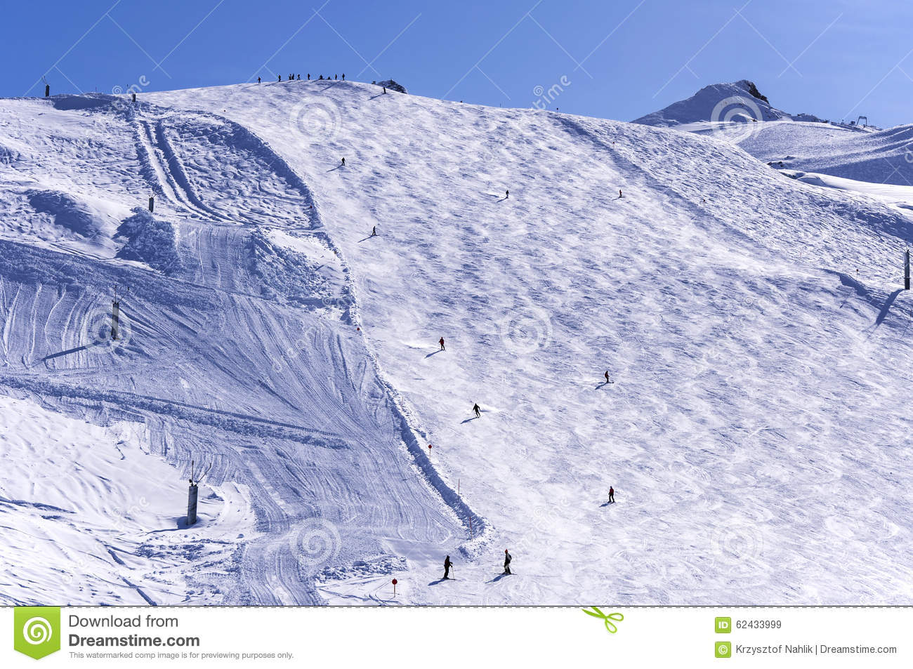 Ski Slope On Hintertux Glacier Stock Photo.