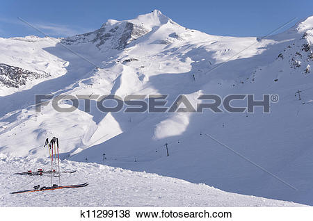 Pictures of Skis and Hintertux Glacier k11299138.