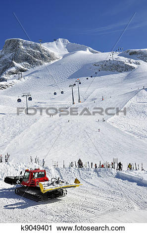 Stock Photography of Snow groomer at Hintertux Glacier k9049401.