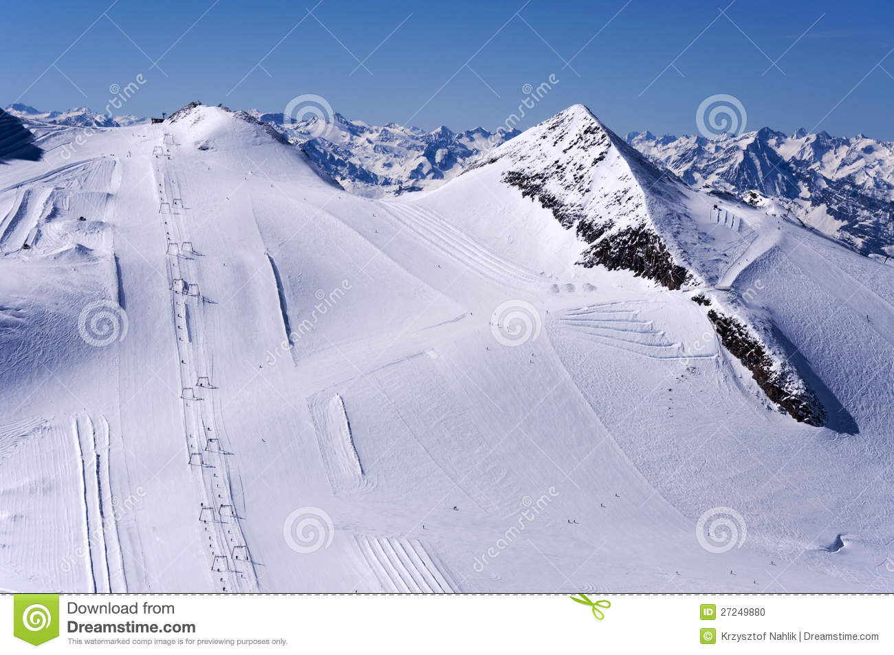 Ski Runs On Hintertux Glacier Stock Photo.