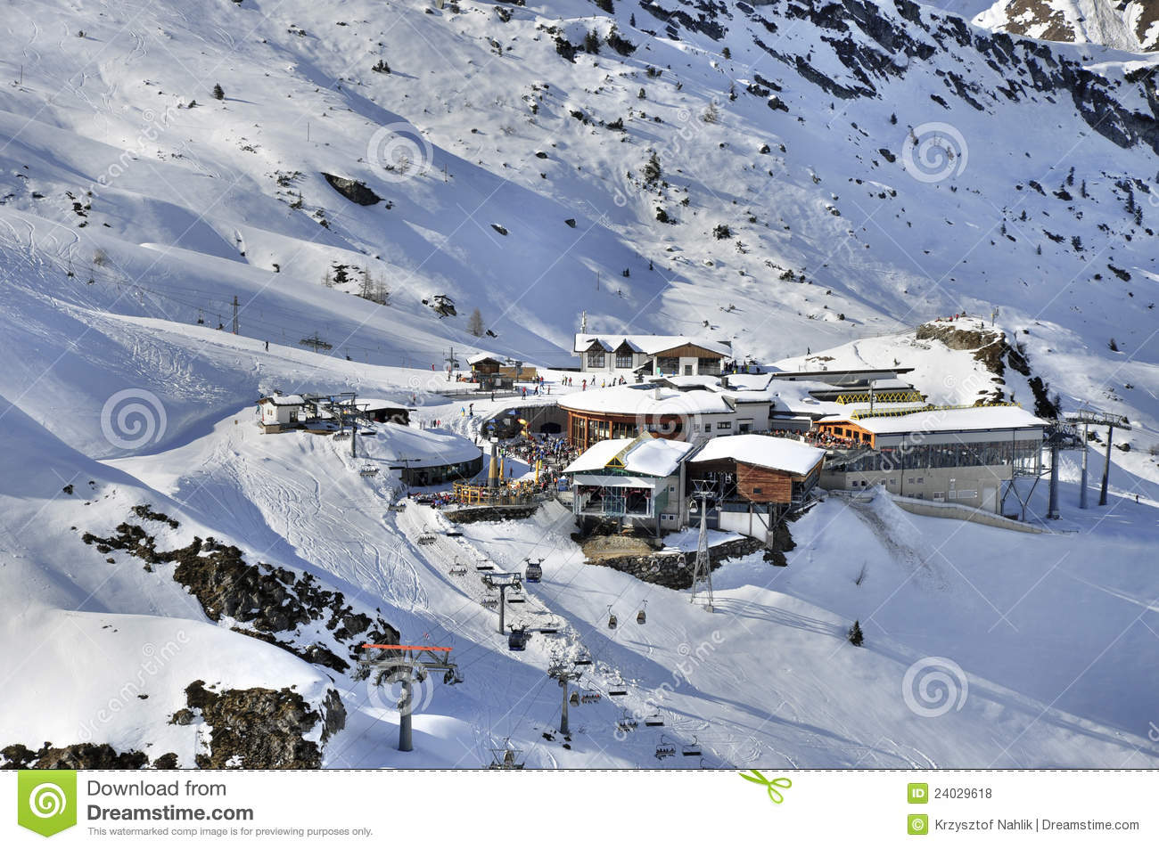 Ski Station At Hintertux Glacier Royalty Free Stock Photos.