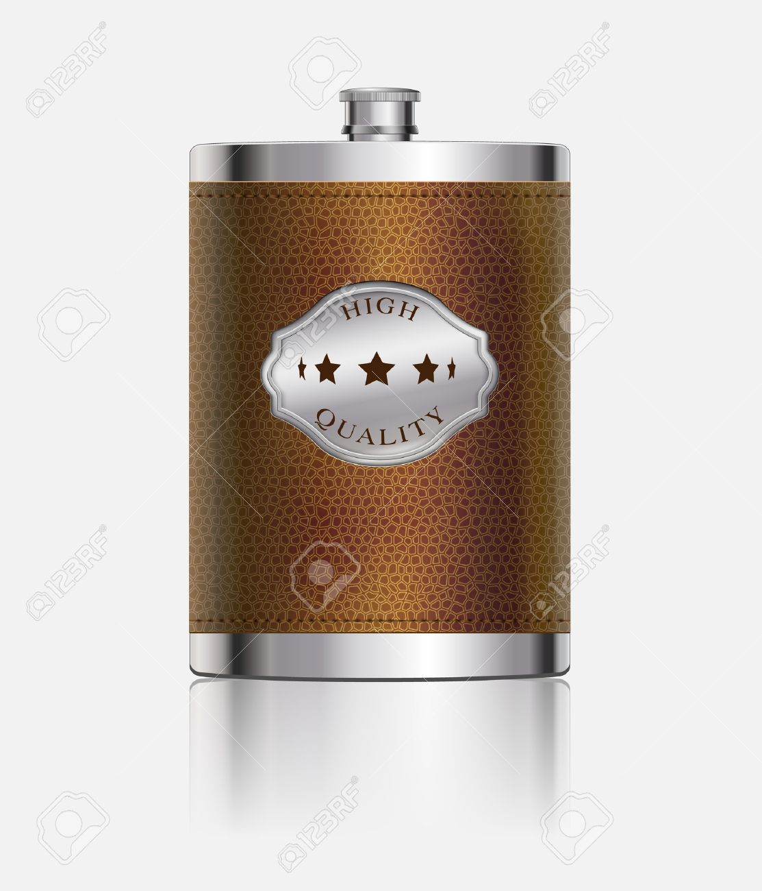 Stainless Hip Flask Wrapped In Leather Royalty Free Cliparts.