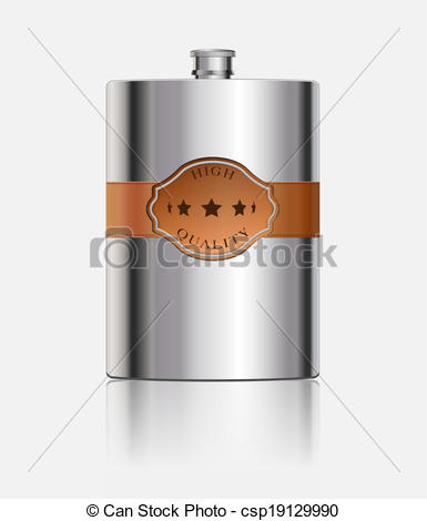 EPS Vectors of Stainless hip flask with leather label csp19129990.