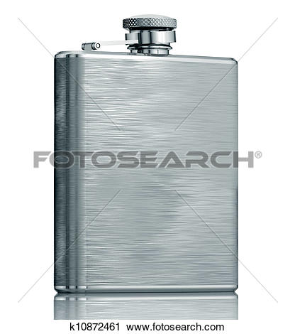 Clipart of Stainless hip flask. k10872461.