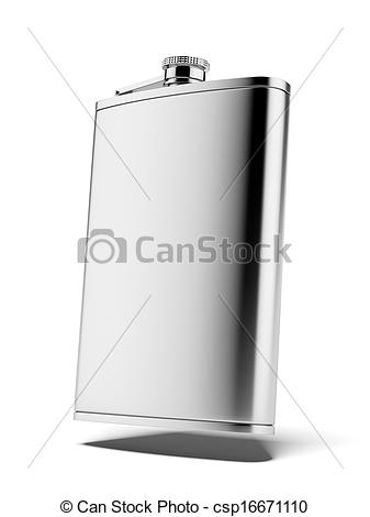 Clipart of Stainless hip flask isolated on a white background. 3d.