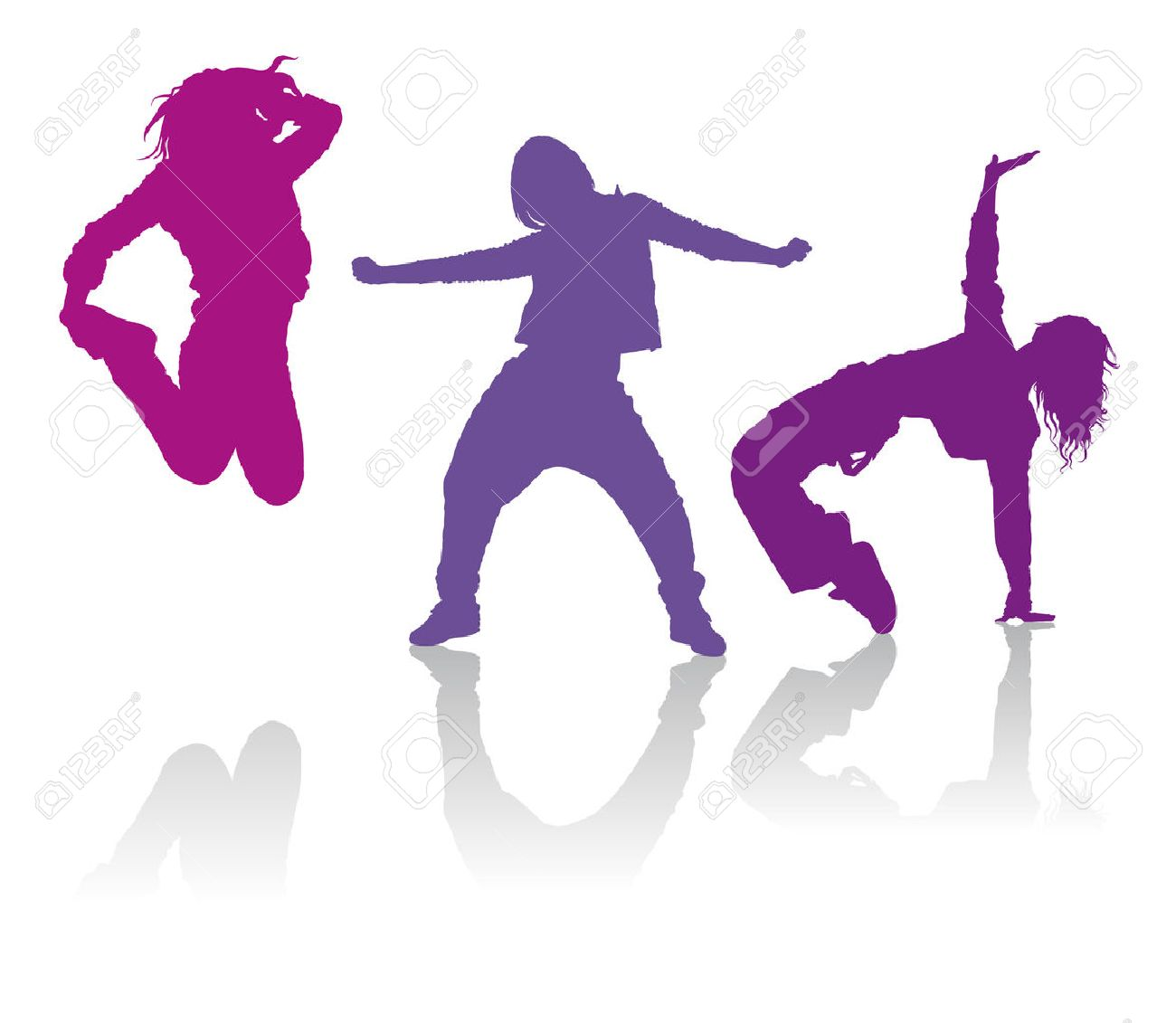 Detailed silhouettes of girls dancing hip.